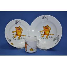 набор детский 3 пр. (кошки-мышки) с тарелкой