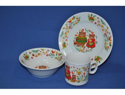 набор посуды 3 пр. Мишкины сказки (с салатником) 1377
