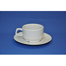 чашка с блюдцем 170 мл (белая) штабелируемая
