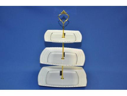 ваза трехъярусная снежная королева 16,5 см/20 см/25,5 см квадратная