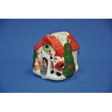 Сувенир новогодний 7*7*8 см Домик с дед морозом