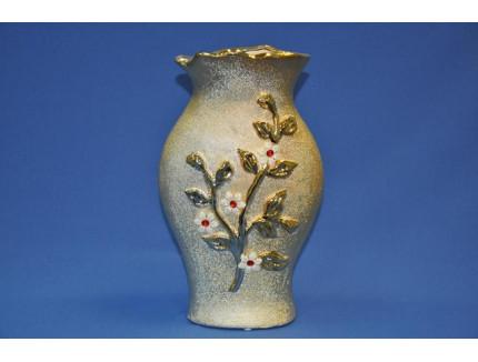 ваза ф. волна золото/цветы