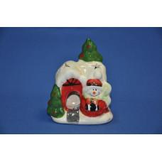 Сувенир новогодний 6*5*9 см Домик со снеговиком