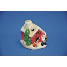 Сувенир новогодний 7*7*8 см Домик с дед морозом 1